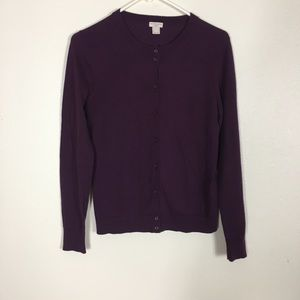 J. Crew Plum Purple Button Front Caryn Cardigan